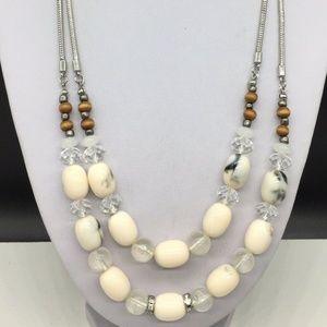 Ann Taylor Loft Rhinestone Crystal Wood Necklace